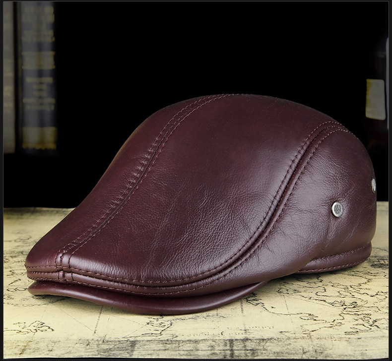 Men's Leather Derby Duckbil Cap Hat