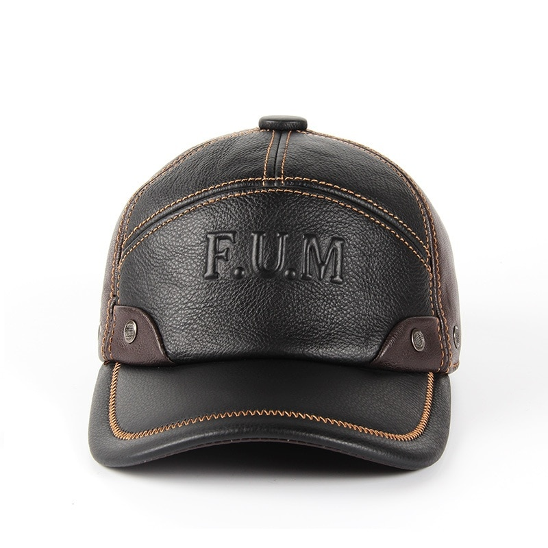 Men Genuine Leather Cowhide Caps 3 Sizes