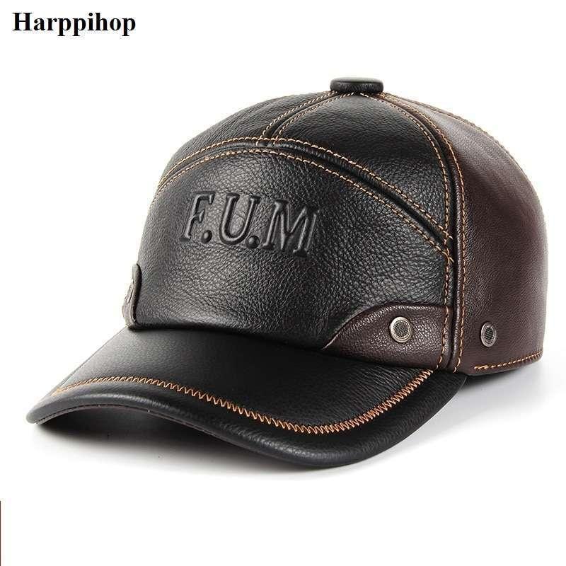 Men Genuine Leather Cowhide Caps 3 Sizes