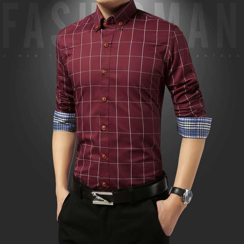 Men Business Formal Long Sleeve Shirt