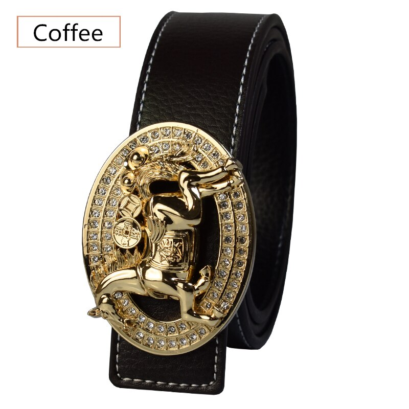 Luxury Brand Gold Horse Buckle Design Men Fashion High Quality Leather Belts