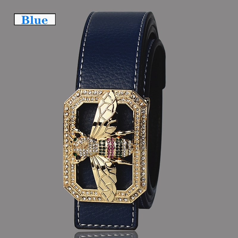 Luxury Brand Belts for Men &Women Unisex Fashion Shiny Bee Design Buckle High Quality Waist Shaper Leather Belts