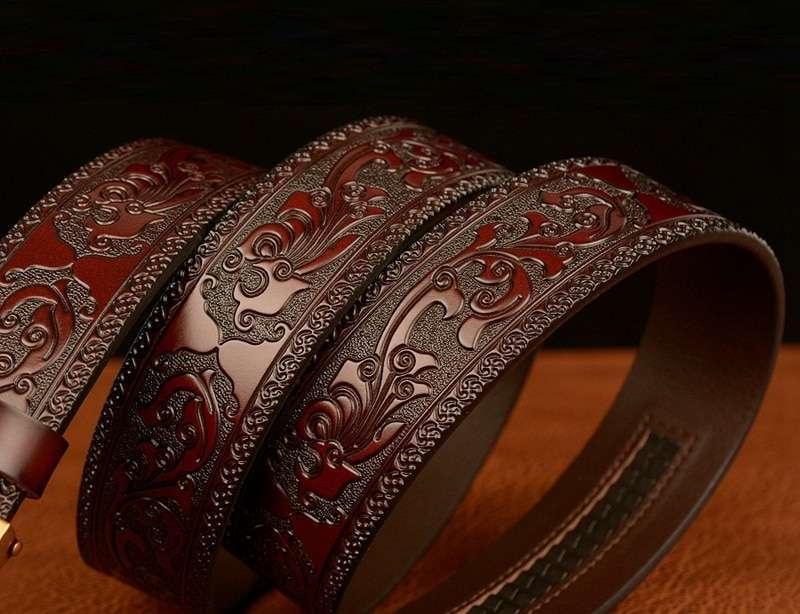 Men Luxury Snake Automatic Buckle Genuine Cowskin Leather Belt