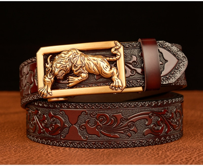 Luxury Automatic Tigger Emblem Buckle Tang Grass Pattern Leather Belt