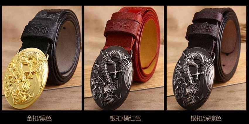 Luxury Genuine Cow Skin Dragon Embossed Buckle Belts