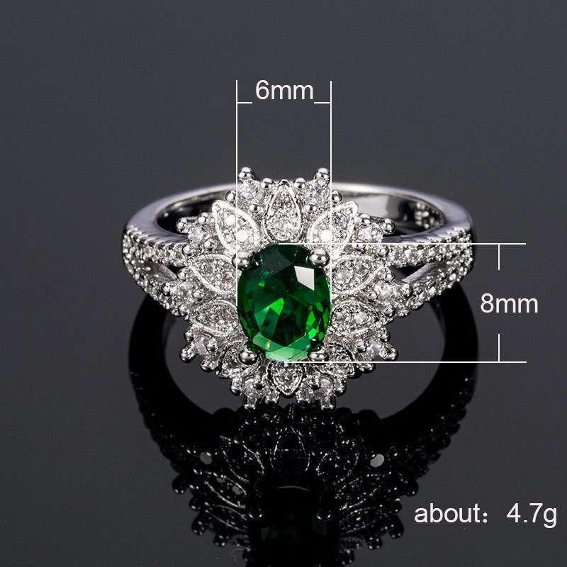 Trendy Silver Ring For Women 6*8mm Oval shape Emerald Zircon Jewelry