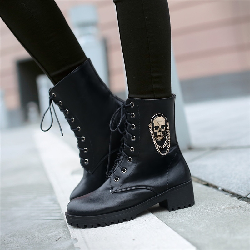 Gothic Women Gold Metal Skull Emblem Ankle Boots