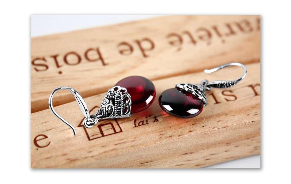 Women 100% 925 Sterling Silver Round Garnet Drop Earrings