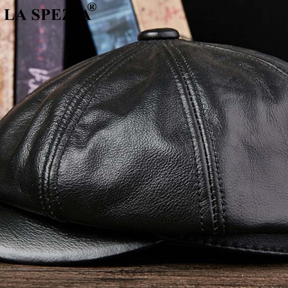 Genuine Leather Newsboy Hats For Men