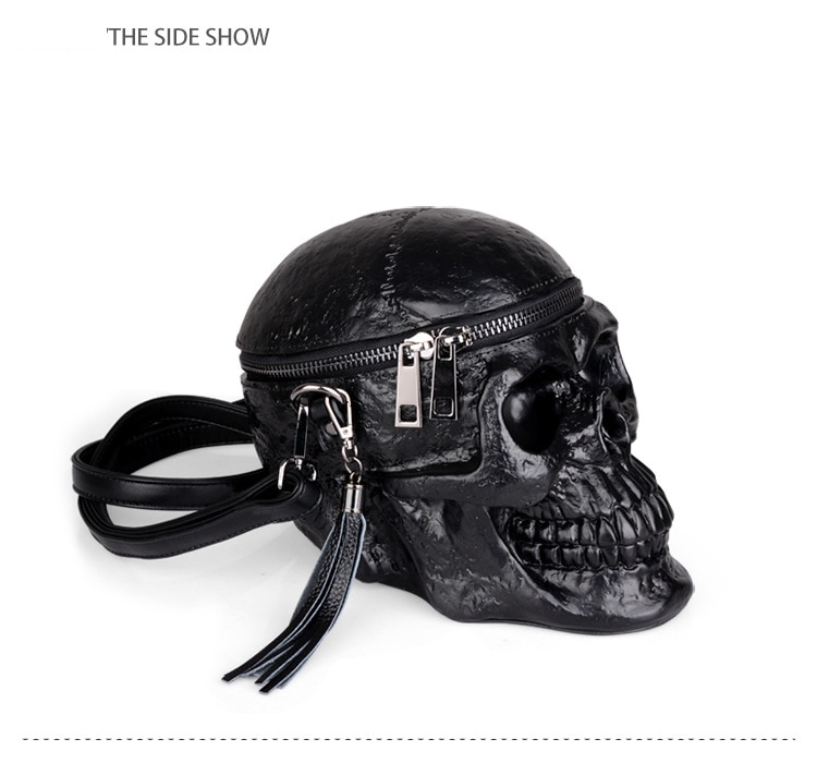 Women Skull Shape Black Shoulder Crossbones Messenger Bag