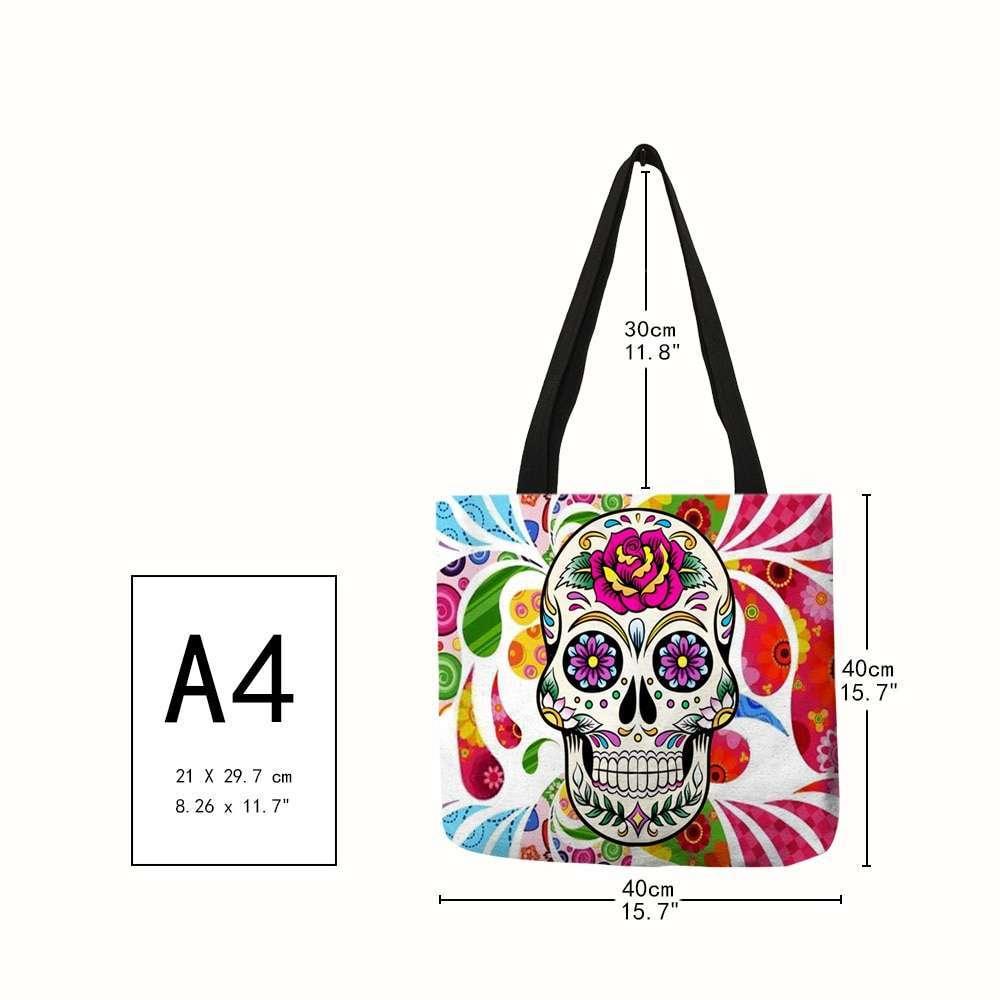 Colorful Floral Skull Print Linen Handbags