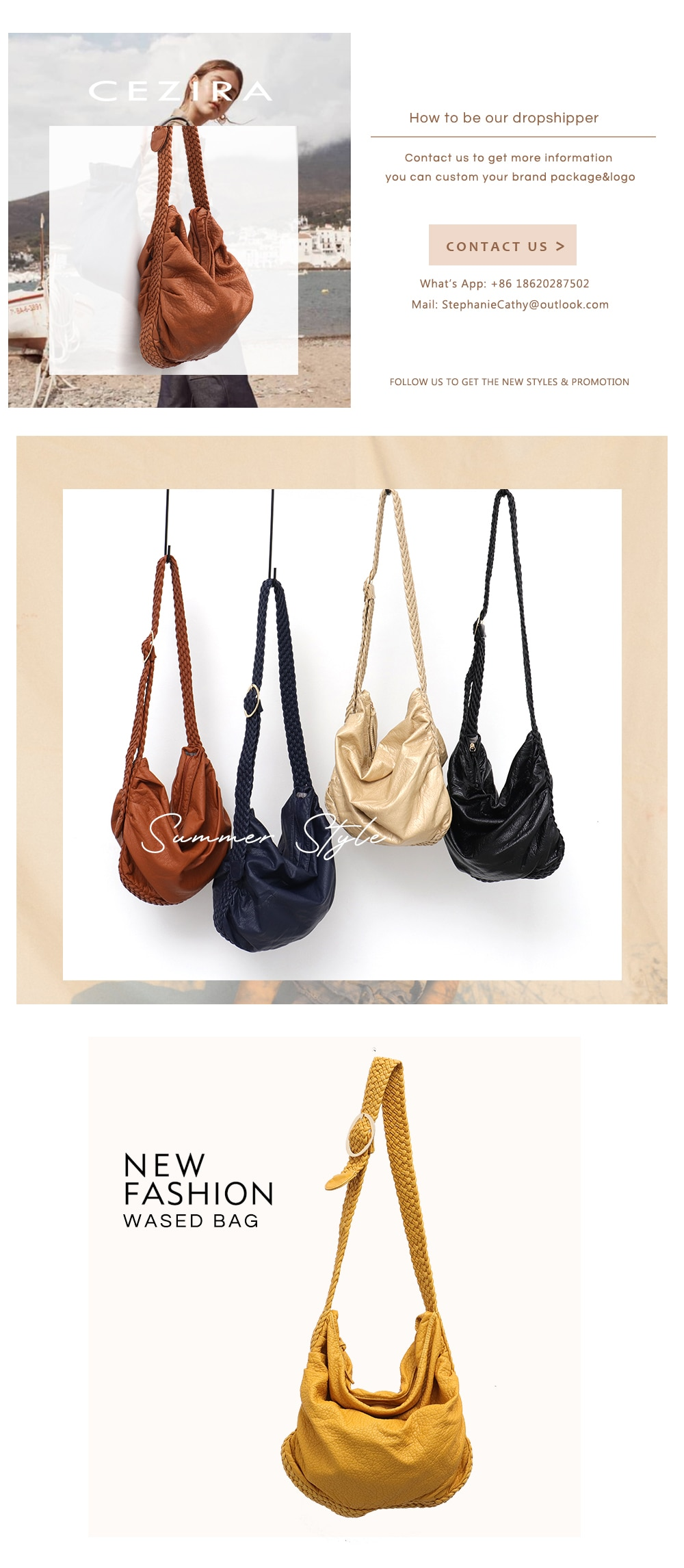 Women Big Soft Casual PU Leather Hand Bags