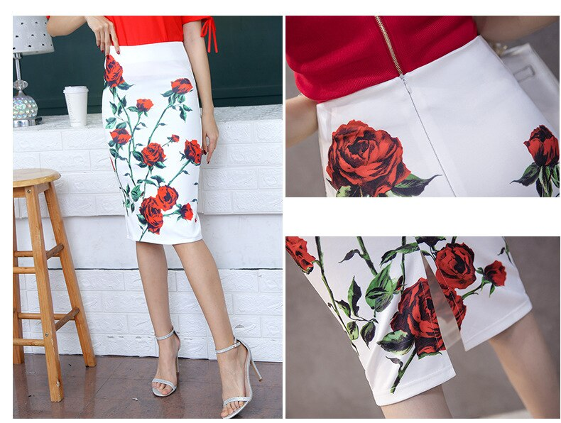 Women Colorful Floral Cartoon Print Pencil Fashion High Waist Skirts