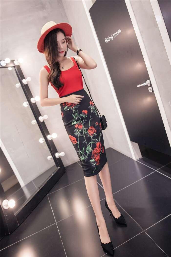 Women Colorful Floral Cartoon Print Pencil Fashion High Waist Skirts