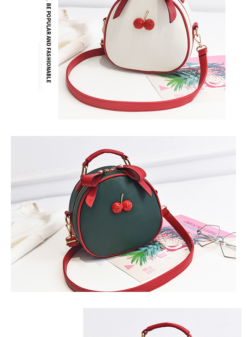 Women Two Red Cherries Embossed Small Handbag
