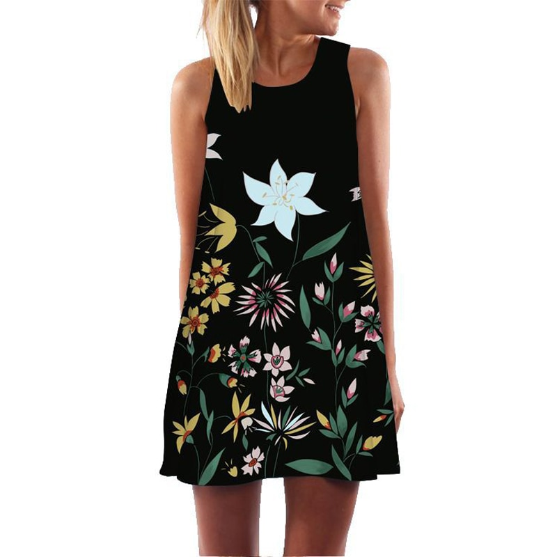 Chiffon 3D Colorful Floral Print Above Knee  Summer Dresses