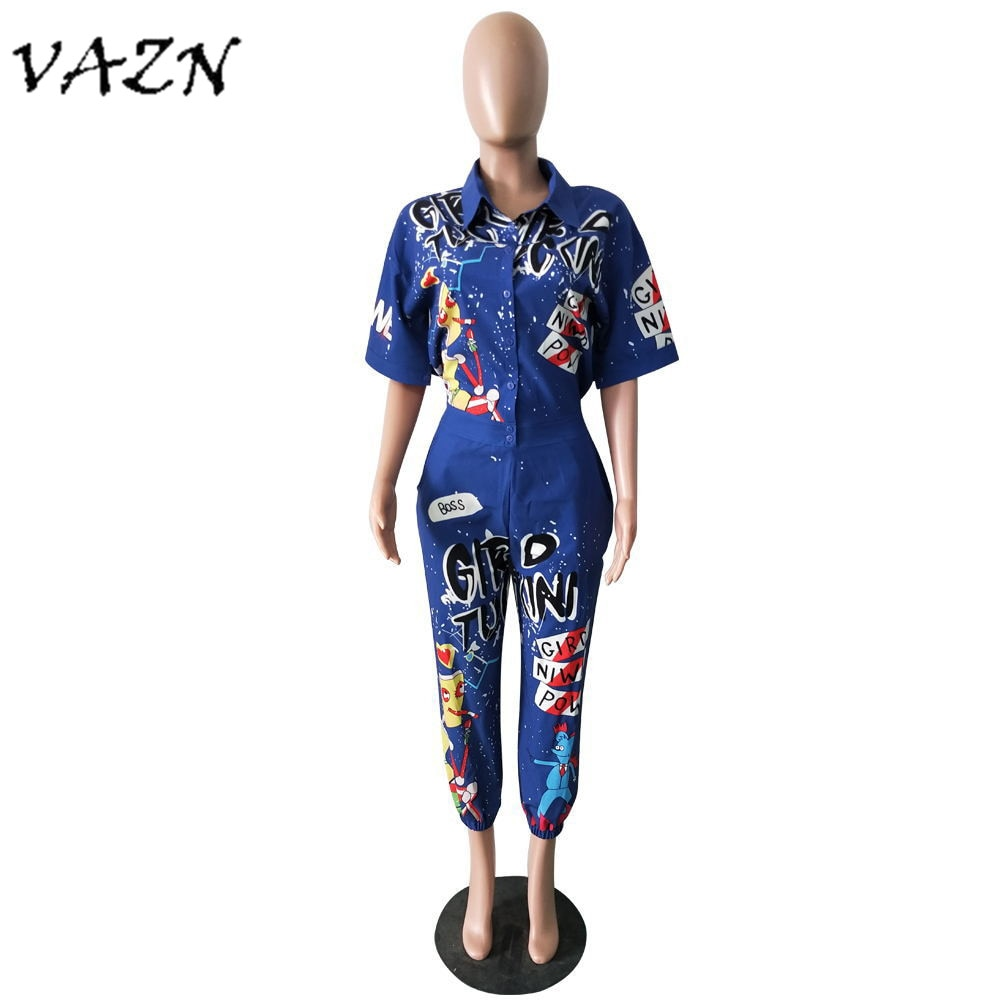 Graffiti Print Colorful Women Hip Hop Jumpsuit Coverall.