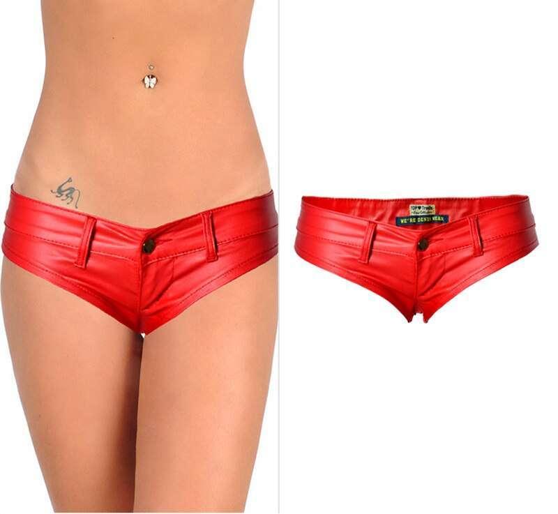 Women Sexy Club Pole Dancing Short Low Waist Mini PU Leather Shorts