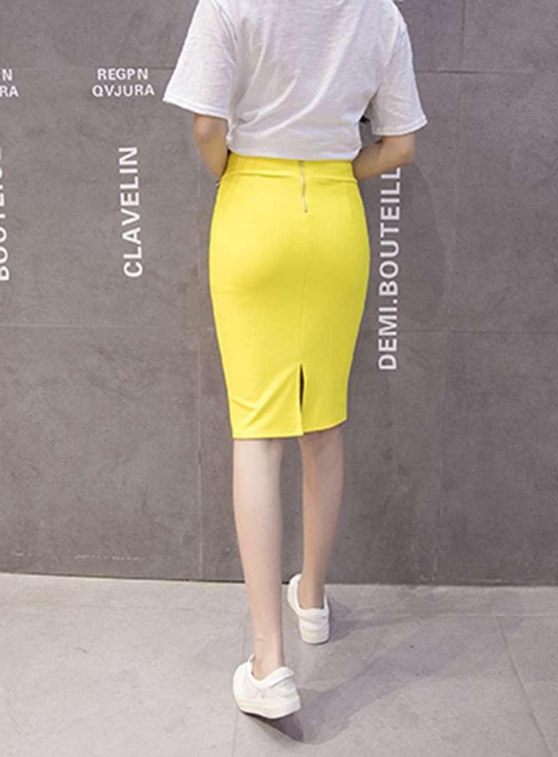 Women High Waist Elastic Pencil Colored Skirt