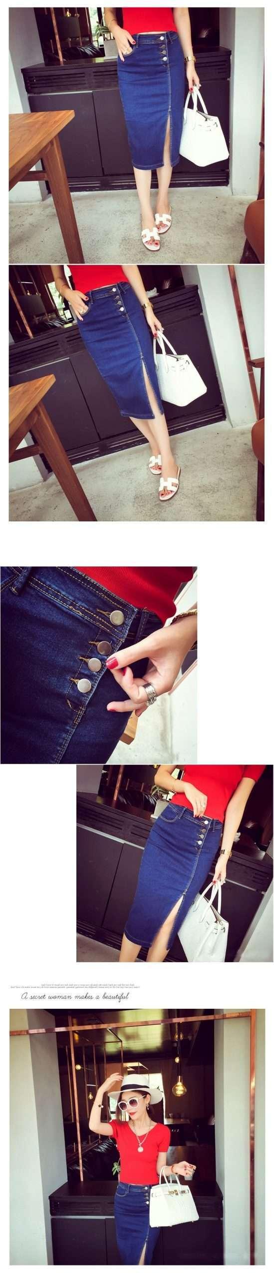 Women Sexy High Waist Denim Stretch Midi Pencil Skirt