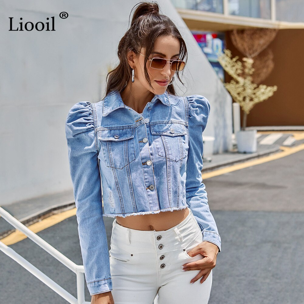 Women Blue Denim Cropped Puff Sleeve With Button Pockets Vintage Jacket