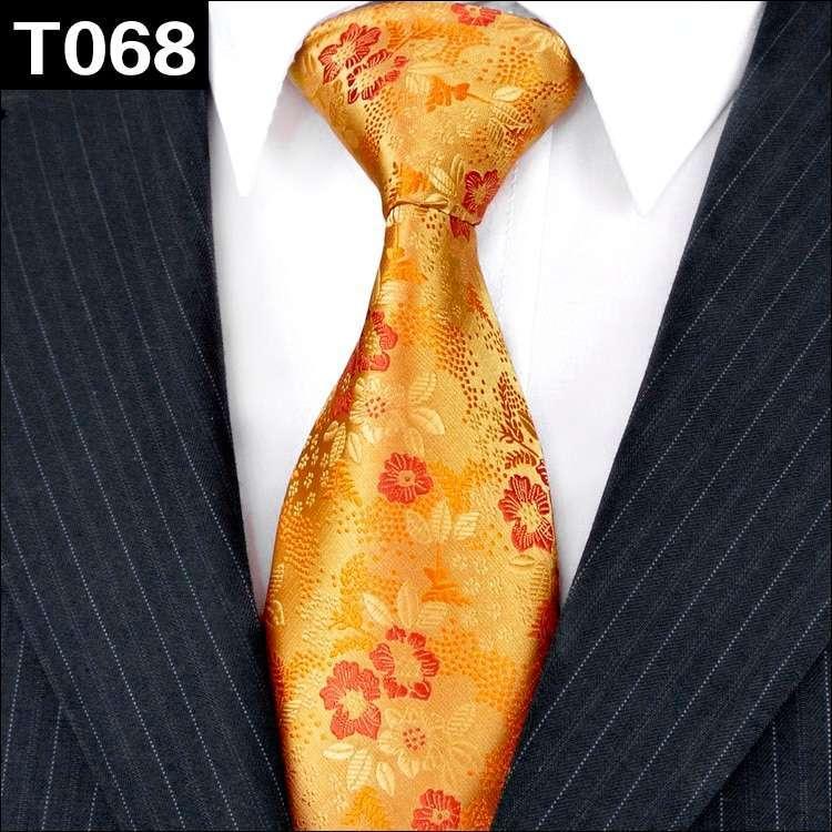 Men Gold Color Solid Floral Paisley 100%  Silk Necktie Sets