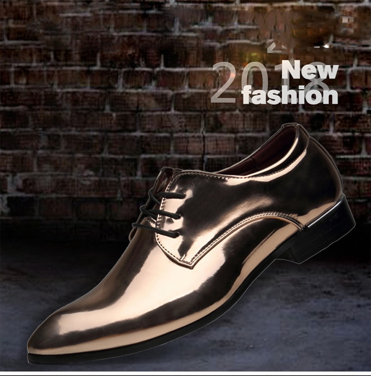 Men Pointed Toe Glossy Shinning Pu Leather Bright Colors Business Wedding Shoes